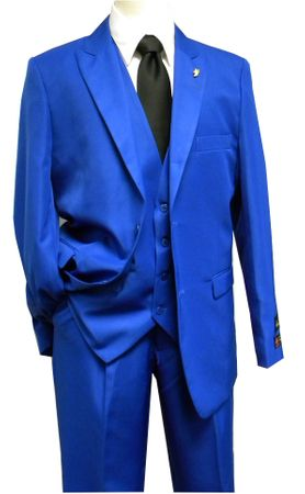 Falcone 3 Piece Fashion Suit Vett Vested Solid Royal 3869-022 OS - click to enlarge