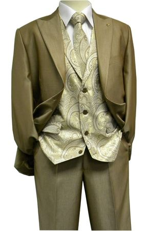 Falcone Mens Shiny Taupe City Vest 3 Piece Suit 5284-058