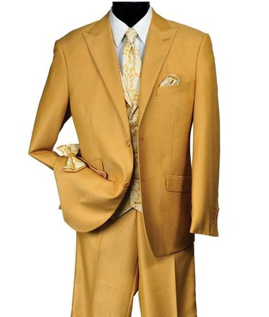 Falcone Mens Mustard 3 Piece Suit Paisley Vest City Revo 9212-828