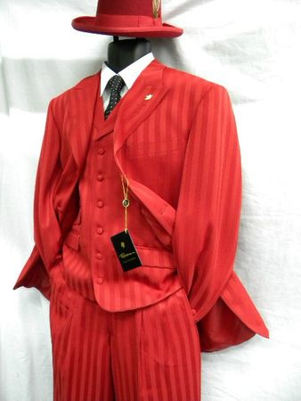Falcone Mens Red Shadow Stripe Vested Fashion Suit Mat 380-005