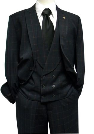 Falcone Mens Black Red Mase Shawl Vested 3 Piece Suit 5414-050 IS - click to enlarge