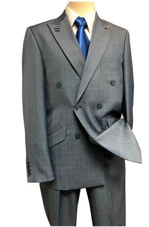Falcone Double Breasted Suit Men's Heather Blue Flat Front Duece 5540-032 IS - click to enlarge