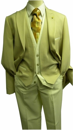Falcone Mens Tan Cream Houndstooth 4 Piece Fashion Suit 7440-068 IS - click to enlarge