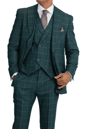 Blu Martini Men's Green Windowpane 3 Piece Suit Ken 5904-703 - click to enlarge