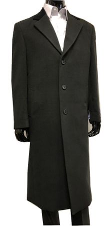 Blu Martini Mens Full Length Black Chesterfield Wool Overcoat 4150-000 Vince - click to enlarge