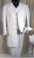 White Zoot Suit Mens 3 Piece Long Jacket Milano 2475V