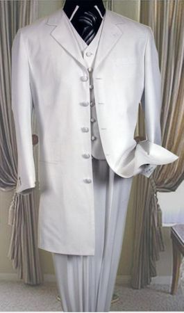 White Zoot Suit Mens 3 Piece Long Jacket Milano 2475V - click to enlarge