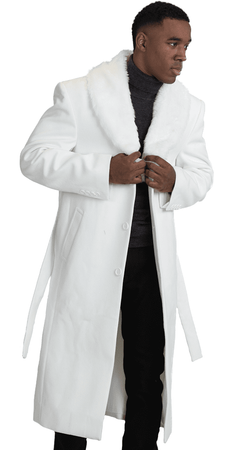 Falcone Mens White Fur Collar Wool Overcoat 4150-107 Vance IS - click to enlarge