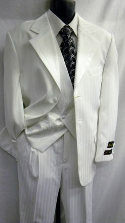 Falcone Mens White Rocker Vested Fashion Tuxedo 3558-007 Size 38R Final Sale - click to enlarge