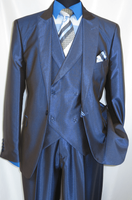 Falcone Metallic Blue Ken DB Vested 3 Piece Suit 5662-032 OS