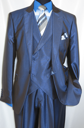 Falcone Metallic Blue Ken DB Vested 3 Piece Suit 5662-032 OS - click to enlarge