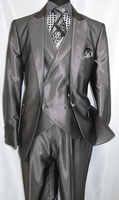 Falcone Metallic Gray Ken DB Vested 3 Piece Suit 5662-021