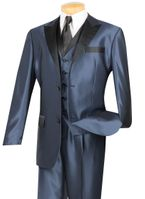 Vinci Mens Blue Sharkskin 3 Pc. Entertainer Suit Tuxedo 23TX-1