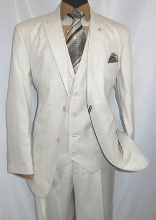 Falcone Pettv Mens Eggshell White Plaid 3 Piece Fashion Suit 5546-008 - click to enlarge
