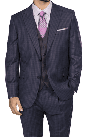 Steve Harvey Mens Navy Brown Gingham 3 Piece Suit Contrast Vest 218882 OS Size 44R Final Sale - click to enlarge