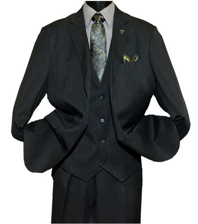 Stacy Adams Heather Dark Gray 1920s Inspired Suny Vest Three Piece Suits 4016-011 OS - click to enlarge