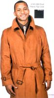 Falcone Pierce Rust Micro Suede Mens Trench Coat 4140-069