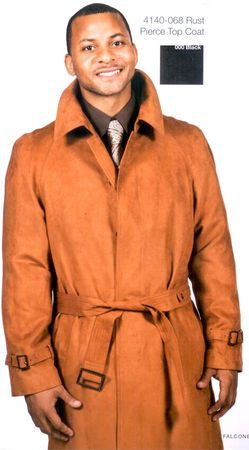 Falcone Pierce Rust Micro Suede Mens Trench Coat 4140-069 - click to enlarge