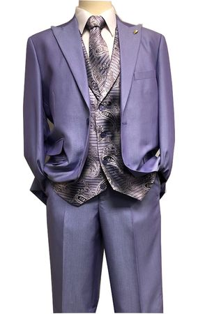 Falcone Purple Paisley Vest Tie Fashion Suit City 5284-349 Size 42L, 46L