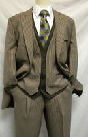 Falcone 4 Piece Sarge Vested Brown Houndstooth Suit 7440-108 Size 40R Final Sale