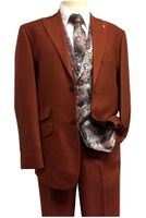 Falcone Suits Men's Rust Paisley Vest Tie Set Flat Front City 5284-178 IS
