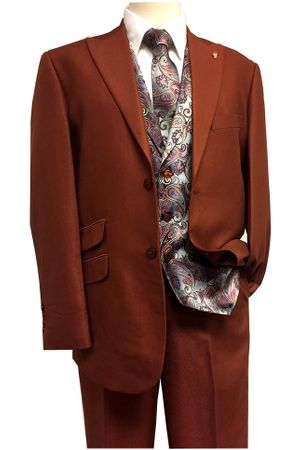 Falcone Suits Men's Rust Paisley Vest Tie Set City 5284-178 Size 46R, 42L, 52LIS