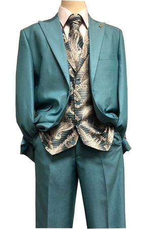 Falcone Teal Paisley Vest Tie Fashion Suit City 5284-372 IS