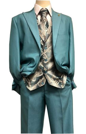 Falcone Teal Paisley Vest Tie Fashion Suit City 5284-372 IS - click to enlarge