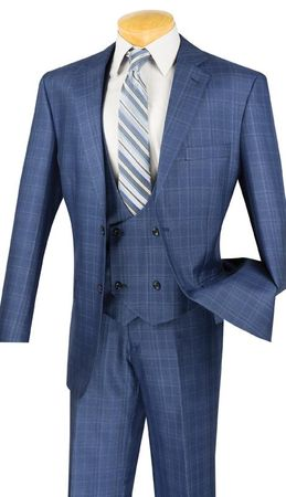 Mens Blue Glen Plaid 3 Piece Fashion Suit Vinci V2RW-7