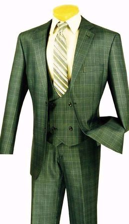 adc4c47576aa Fancy Vest Mens Suits 3 Piece Olive Green Plaid Vinci V2RW-7