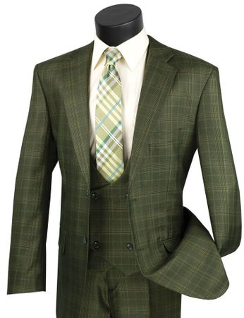 Mens Olive Green Plaid 3 Piece Suit Fancy Vest Vinci V2RW-7