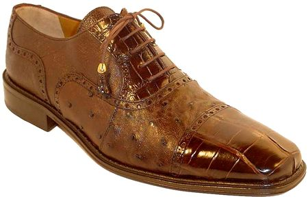 Ferrini Men's Chocolate Alligator Ostrich Cap Toe Shoes 203/528