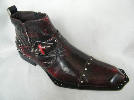 Zota Mens Burgundy Fancy Toe High Fashion Leather Boots G4H938 - click to enlarge