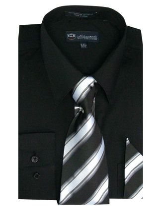 Fashion Color Black Dress Shirts Tie Set Mens Long Sleeve Fortini SG21A