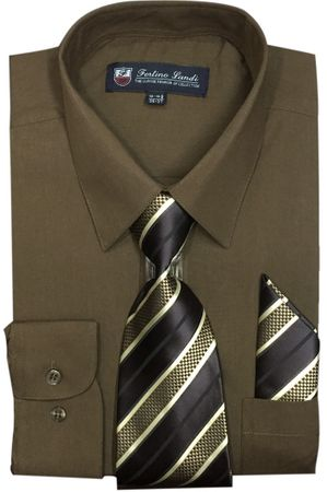 Fashion Color Dress Shirts Tie Set Mens Brown Long Sleeve Fortini SG21B
