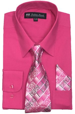 Fashion Color Dress Shirts Tie Set Mens Fuchsia Long Sleeve Fortini SG21B