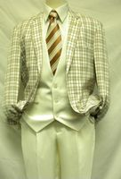 Falcone Ivory Plaid State Vested 3 Piece Fashion Suit 3833-058 IS