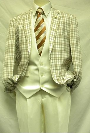 Falcone Ivory Plaid State Vested 3 Piece Fashion Suit 3833-058 IS - click to enlarge