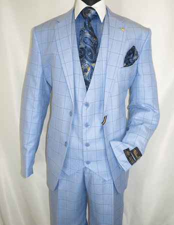 Falcone Light Blue Windowpane Suit 3 Piece Bud 9228-752 - click to enlarge