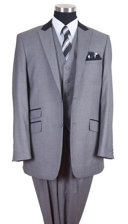 Milano Moda Mens Gray Black Collar Chesterfield 3 Piece Suit 57023