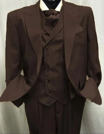 Mens Brown Wool Suit Double Breasted Vest Alberto Gadson54