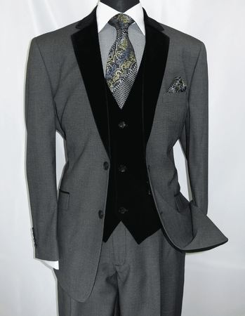 Milano Moda Mens Gray Velvet Lapel Vest 3 Piece Fashion Suit 57024