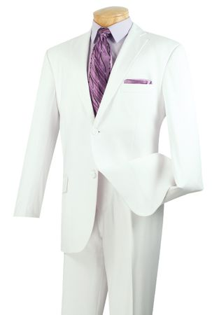 Vinci Mens 2 Button Solid Pure White Suit Single Pleat 2TR