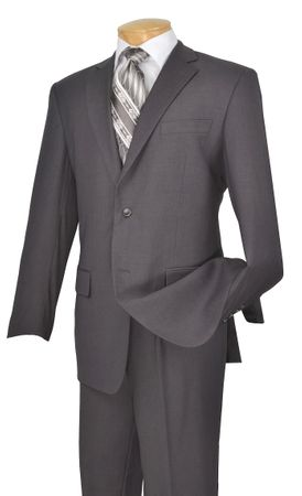 Suit for Men Gray Solid Color Pleated Pants Vinci 2TR