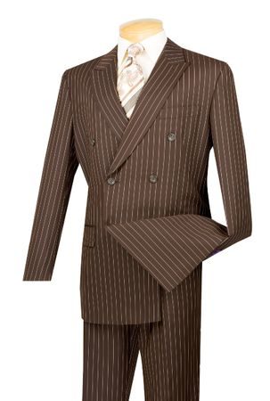 Vinci Men's Brown 1930s Banker Stripe Double Breasted Suits DSS-4