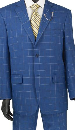 Fashionable Men's Suits by Vinci Royal Blue Window Pane 2RW-4