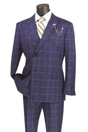 Double Breasted Suit Modern Fit Blue Windowpane Vinci MDW-1