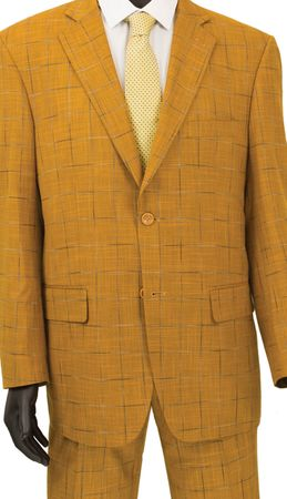 Fashionable Men's Suits by Vinci Ginger Gold Window Pane 2RW-4