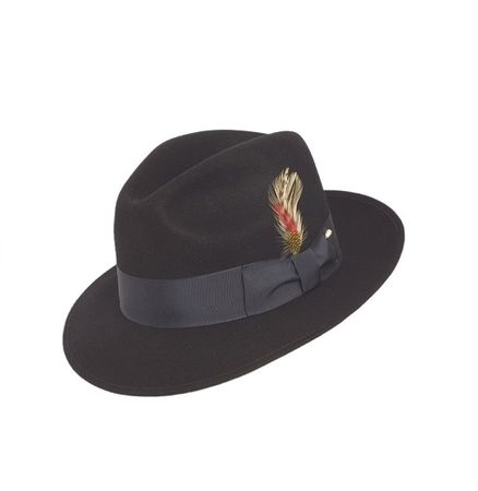 98580a906a6 Fedora Hat Men s Navy Blue Wool Brim Untouchable Capas