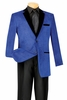 Vinci Blue and Black Velvet Collar Corduroy Blazer B-24